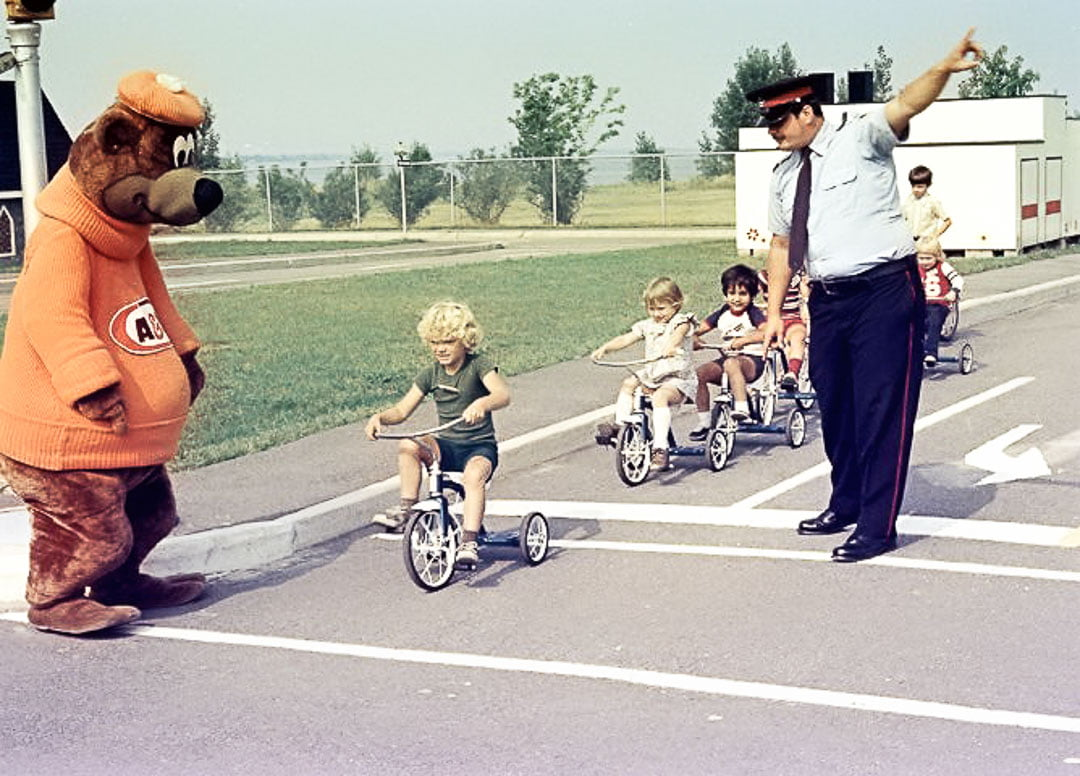 police kids bicycle bear