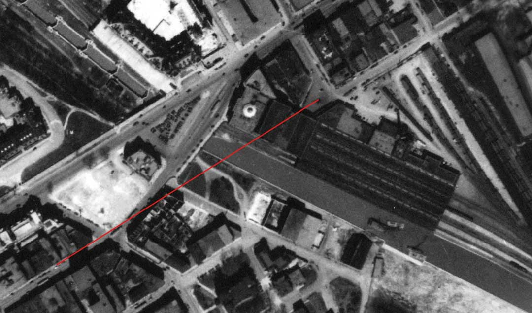 Aerial shot of Connaught Plaza 1940 showing line of sight