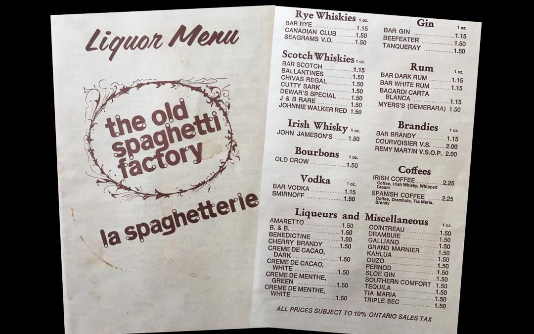 Spaghetti Factory Liquor Menu
