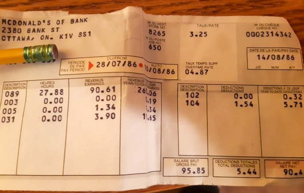 McDonald's Pay Stub 1986