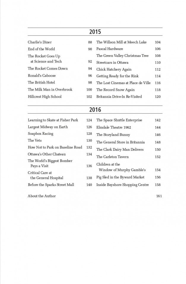 Table of Contents -- Lost Ottawa V.1